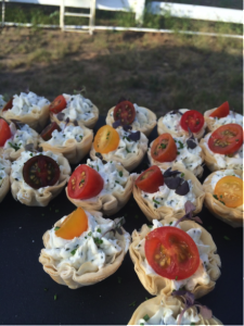 Puff Pastries with Garlic Crème Fraiche and Local Cherry Tomatoes